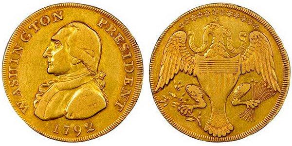 Золотая монета с портретом Джорджа Вашингтона, 1792 год