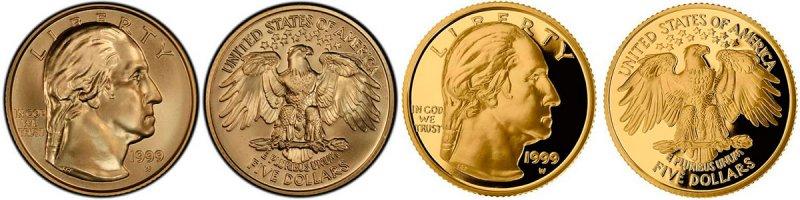 5 долларов «George Washington» (200-летие со дня смерти), два варианта, 1999 год