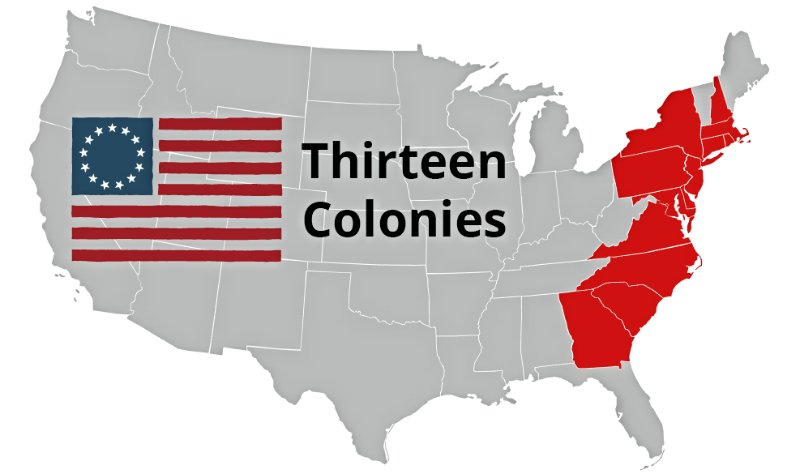 Карта первых 13-ти британских колоний, образовавших США, 1776 год