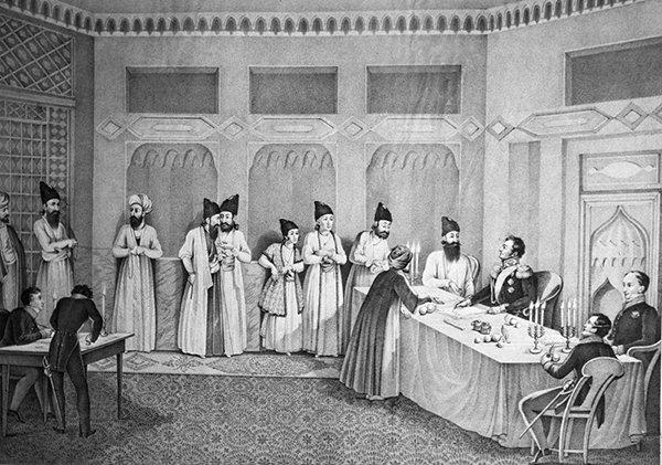 «Заключение мира в Туркманчае 10 февраля 1828 г. во время русско-иранской войны». Александр Грибоедов справа спиной