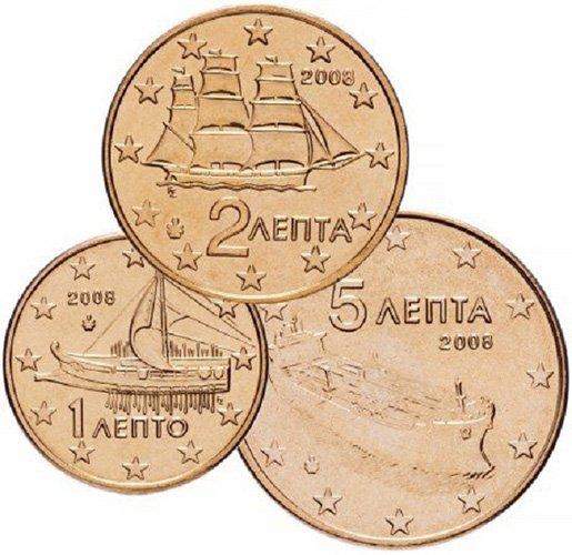 Аверс греческих евроцентов 2008 года