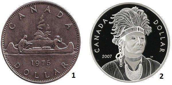 1 - 1 доллар. Канада. 1976 год. Медно-никелевый сплав; 2 – 1 доллар. Канада. 2007 год. Серебро