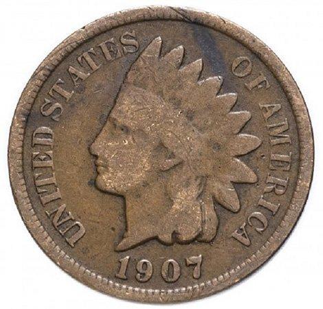 1 цент. 1907 год. США