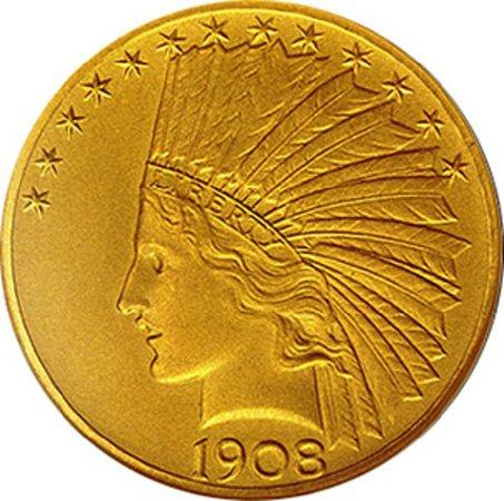 10 долларов. 1908 год. США. Золото. 16,7 г