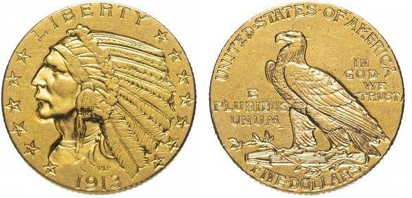 5 долларов. 1913 год. Золото. США