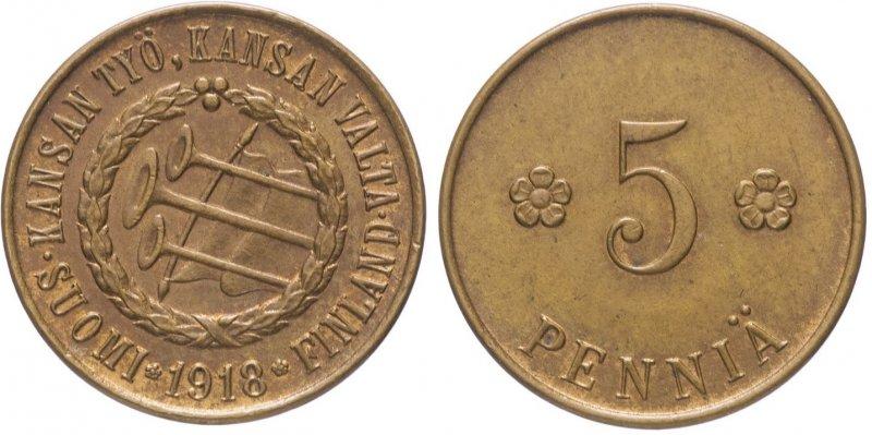 """5 пенни, отчеканенные финскими """"красными"""""""