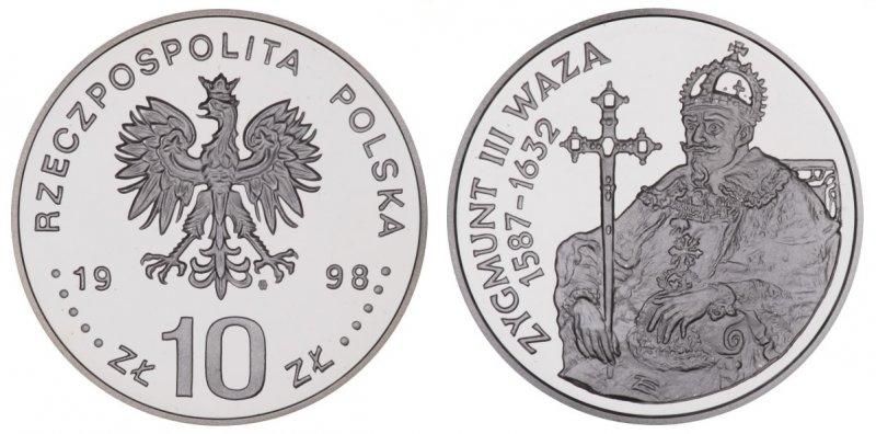 10 злотых 1998 года, Сигизмунд III Ваза