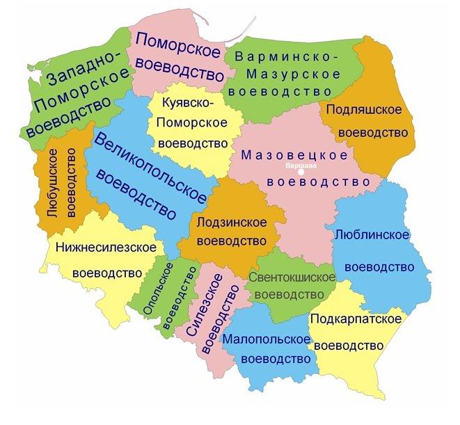 Административная карта Польши