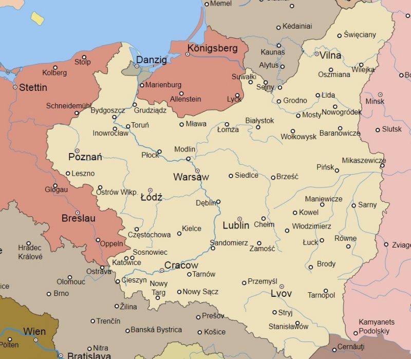 Карта Польши 1921-1939 гг.