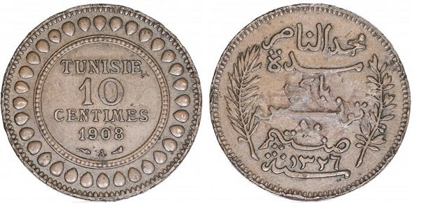 10 сантимов 1908 года. Французский Тунис. Бронза