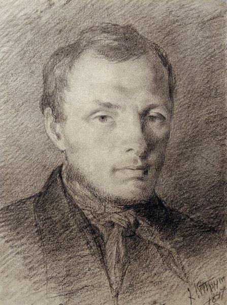 Ф.М. Достоевский. Карандашный набросок работы К.А. Трутовского. 1847 год