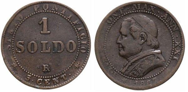 1 сольдо. Папская область. Пий IX (1846-1878 гг.). 1867 год. Медь, 5 г. Римский монетный двор