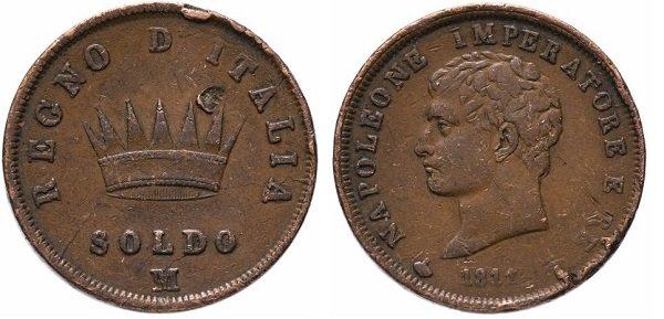 Сольдо. Королевство Италия (1807-1814 гг.). Наполеон Бонапарт. 1811 год. Медь, 10,3 г