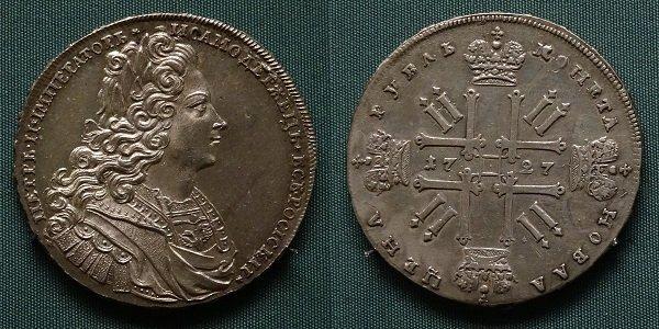 Рубль. 1727 год. Московский монетный двор. Серебро