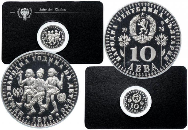 """Серебряная монета Болгарии """"Международный год ребёнка"""" (в блистере)"""
