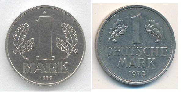 Одна марка ГДР (слева) и одна дойчмарка ФРГ (справа). 1979 год