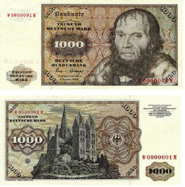 Иоганн Шёнер и кафедральный собор в Лимбурге на купюре 1000 марок. ФРГ. 1964 год