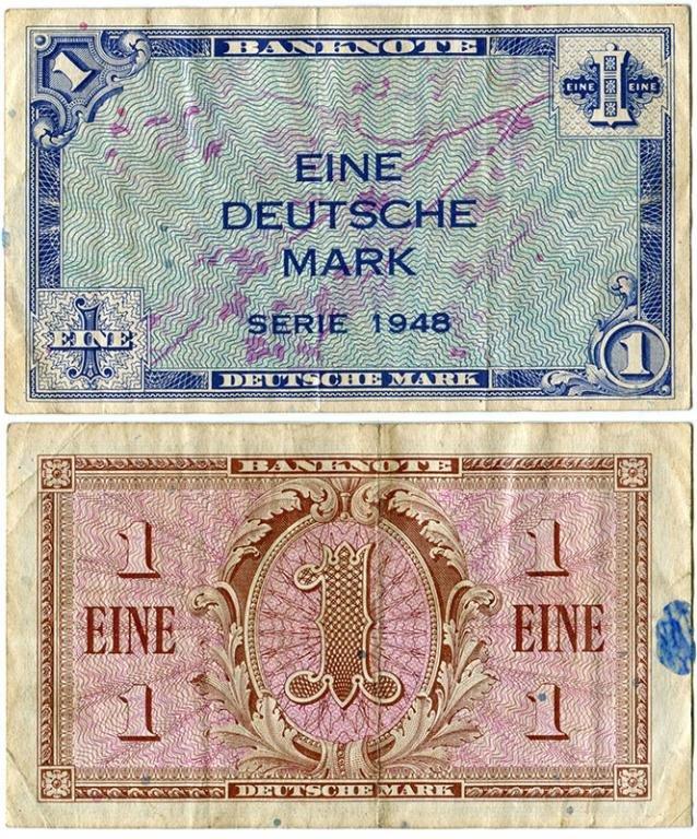 Марка Западной Германии (оккупационная зона США, Франции, Великобритании). 1948 г.