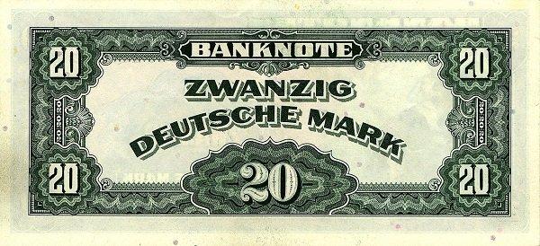 20 марок, напечатанных в США для Западной Германии. 1948 год