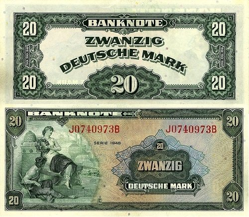 20 марок. ФРГ. 1952 год