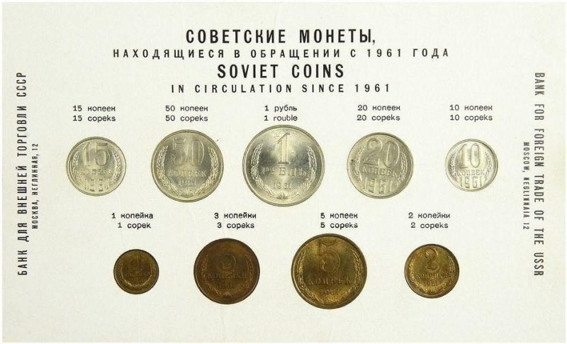 Годовой набор монет СССР 1961 года