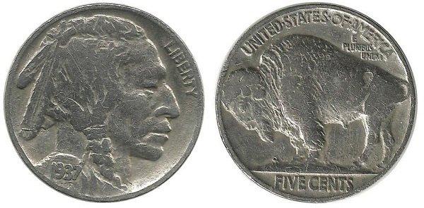 5 центов. 1937 год. США. Мельхиор