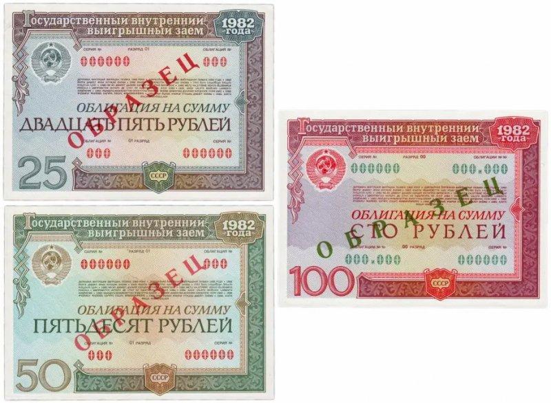 Облигации Государственного внутреннего выигрышного займа 1982 года (лицевая сторона)