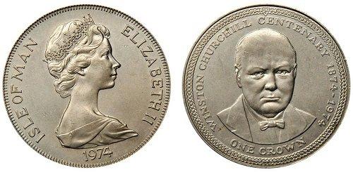 1 крона, остров Мэн, 1975 год, вес 28,28 г, диаметр 38,61 мм, рубчатый гурт, серебро 0,925 пробы