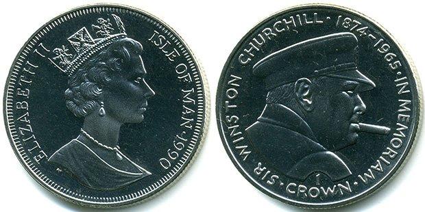 1 крона, 1990 год, остров Мэн, диаметр 38,5 мм, рубчатый гурт, медно-никелевый сплав, Черчилль с сигарой, ракурс поворота лица - вправо