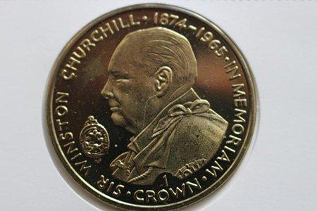 1 крона, 1990 год, остров Мэн, Черчилль, ракурс поворота лица - влево