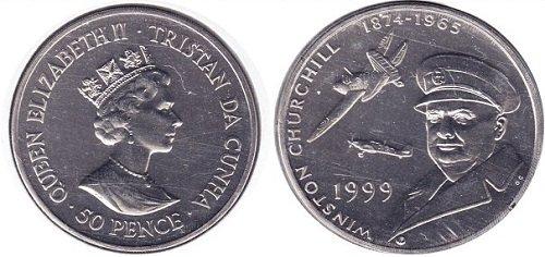 монета достоинством 50 пенсов, Тристан-да-Кунья, медно-никелевый сплав, вес 28,5 г, диаметр 38 мм, толщина 4 мм, рубчатый гурт