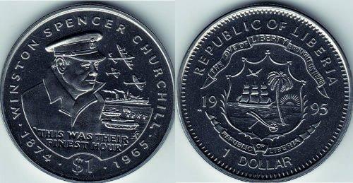 монета достоинством 1 доллар, Либерия, медно-никелевый сплав, диаметр 38,61 мм, рубчатый гурт