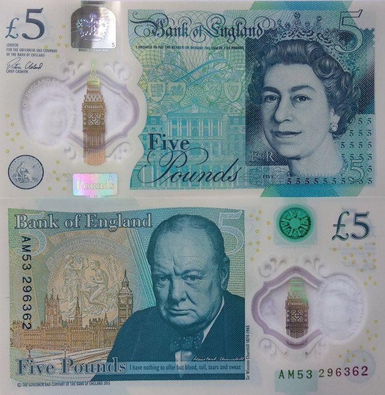 купюра 5 фунтов с изображением Уинстона Черчилля, изготовленная из полимерных материалов