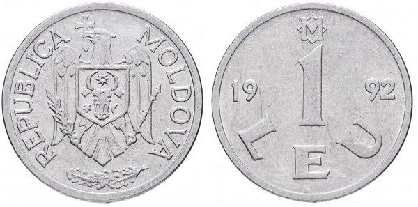 1 лей. Республика Молдова. 1992 год (введен в обращение в 1993 году).Сталь, плакированная никелем