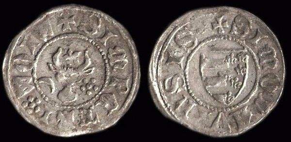 Грош Молдавского господаря-воеводы Петра I Мушата (1380-е годы). Монетный двор в Сучаве. Серебро. Легенда на аверсе: + SIMPETRI*WOIW(ODA). Легенда на реверсе: + SIMOLDVENSIS