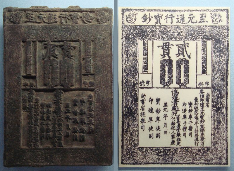 Бумажные деньги династии Юань и медная форма для их печати