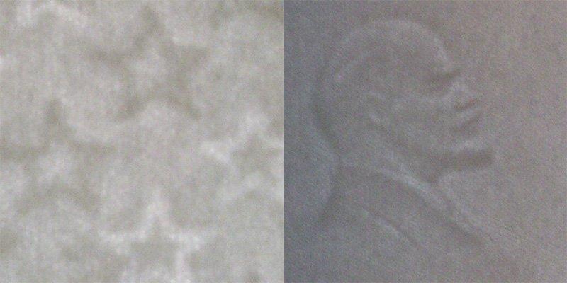 Водяные знаки мелких (слева) и крупных (справа) номиналов