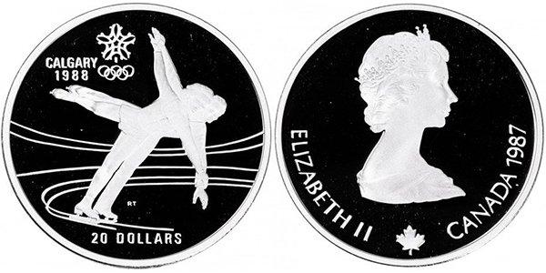"""Канада, 20 долларов 1987 года """"XV зимние Олимпийские игры в Калгари - Парное фигурное катание"""""""