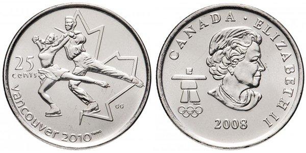 """Канада, 25 центов 2008 года """"XXI зимние Олимпийские Игры, Ванкувер 2010 - Фигурное катание"""""""