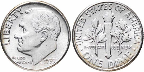 Дайм с изображением Рузвельта. США, 1959 год