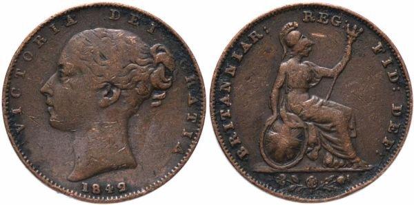 Медный фартинг, Великобритания, 1842 год