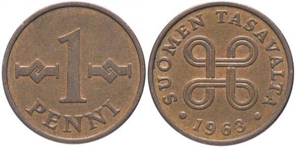 1 пенни, Финляндия, 1963 год
