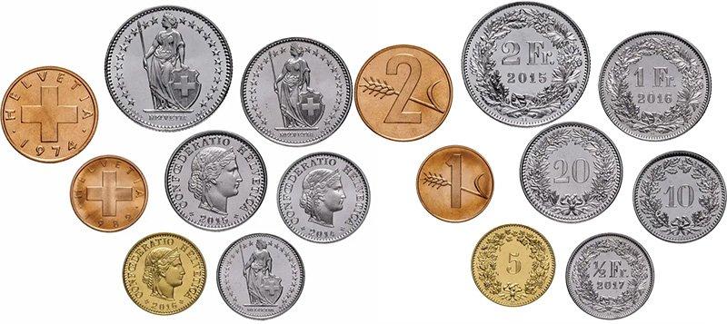 Монеты Швейцарии 1974-2016 гг.