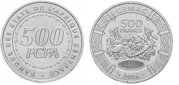 500 центральноафриканских франков КФА 2006 года, мельхиор