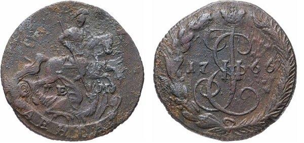 Денга. Екатерина II. 1766 год. Медь, 5,12 г
