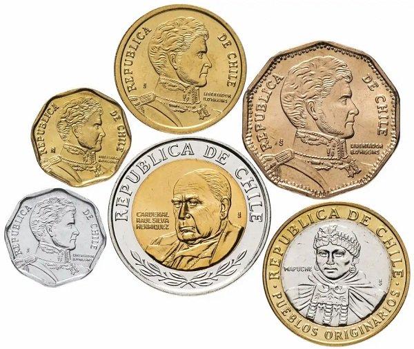 Циркуляционные монеты Чили, лицевая сторона