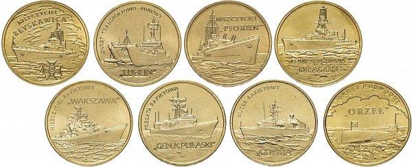 Серия «Польские военные корабли». 2012-2013 гг. Медно-алюминиевый сплав