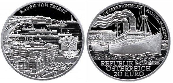 20 евро. Австрия. 2006 год. «Австрийский торговый флот». Серебро