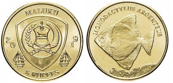 5 рупий. Индонезийская провинция Малуку. 2019 год. «Серебряная рыба-ласточка». Латунь