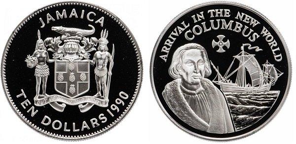 10 долларов. Ямайка. 1990 год. «Колумб в Новом Свете». Серебро